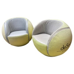 De Sede, Pair of Tennis Ball Swivel Armchairs, 1985
