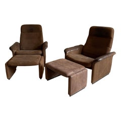 De Sede Pair Patinated Cognac Leather Reclining DS50 Chairs, Switzerland, 1970s