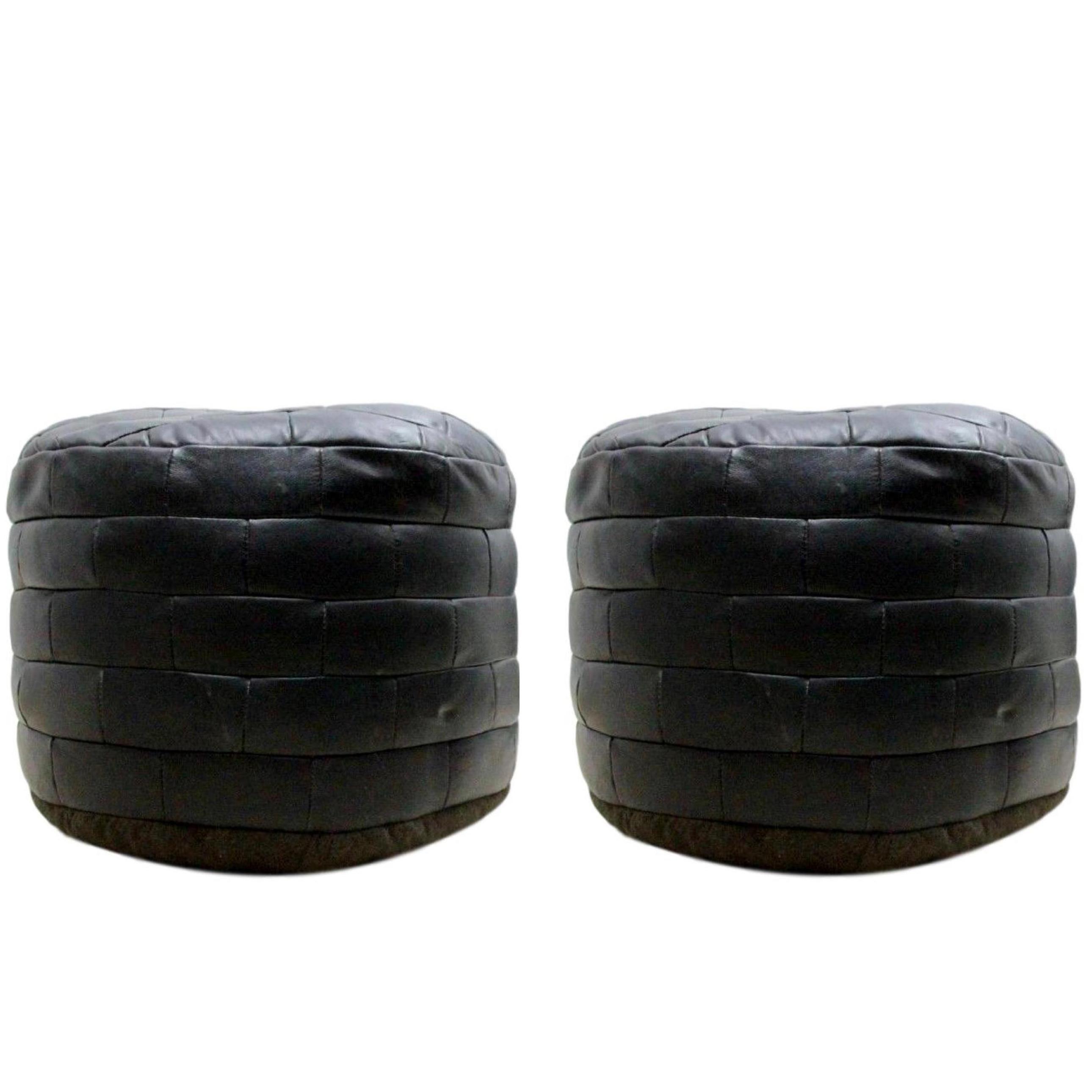 Awesome De Sede Patchwork Black Leather Ottomans At 1Stdibs Inzonedesignstudio Interior Chair Design Inzonedesignstudiocom