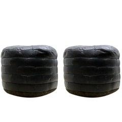 De Sede Patchwork aus schwarzem Leder Osmanen