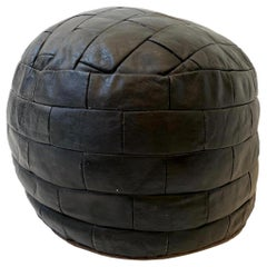 De Sede Patchwork Black Leather Pouf