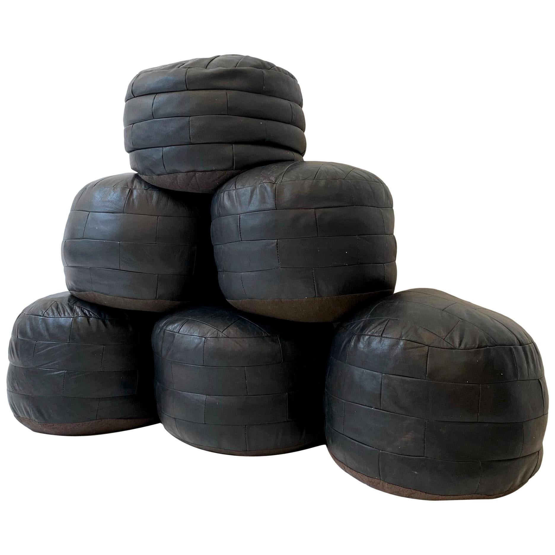 De Sede Patchwork Black Leather Poufs