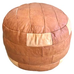 De Sede Patchwork Brown Beige Leather Ottoman