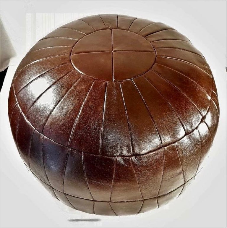 Late 20th Century De Sede Patchwork Brown Leather Ottoman For Sale