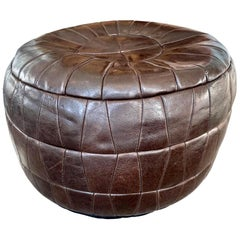 De Sede Patchwork Dark Brown Leather Pouf