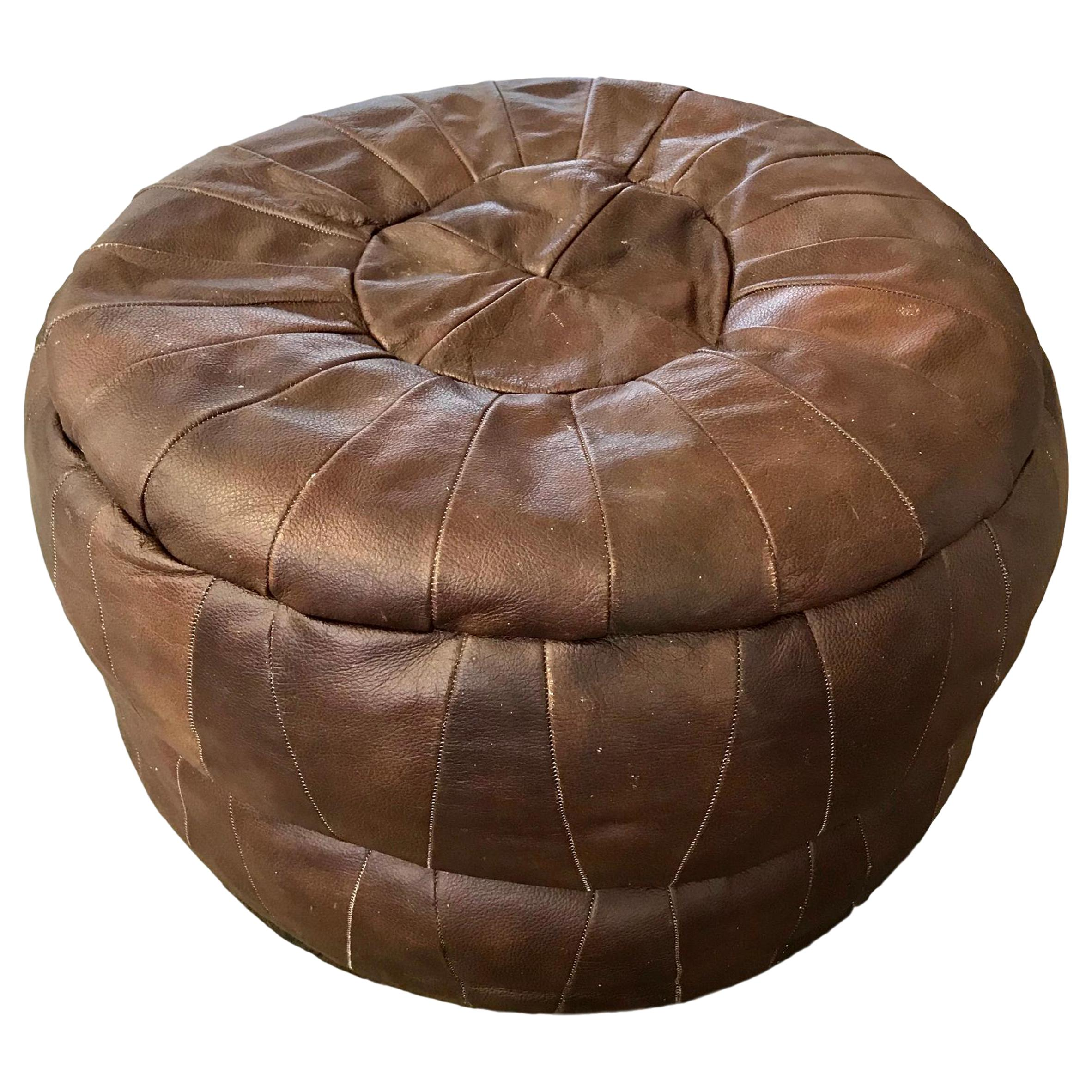 De Sede Patchwork Brown Leather Pouf