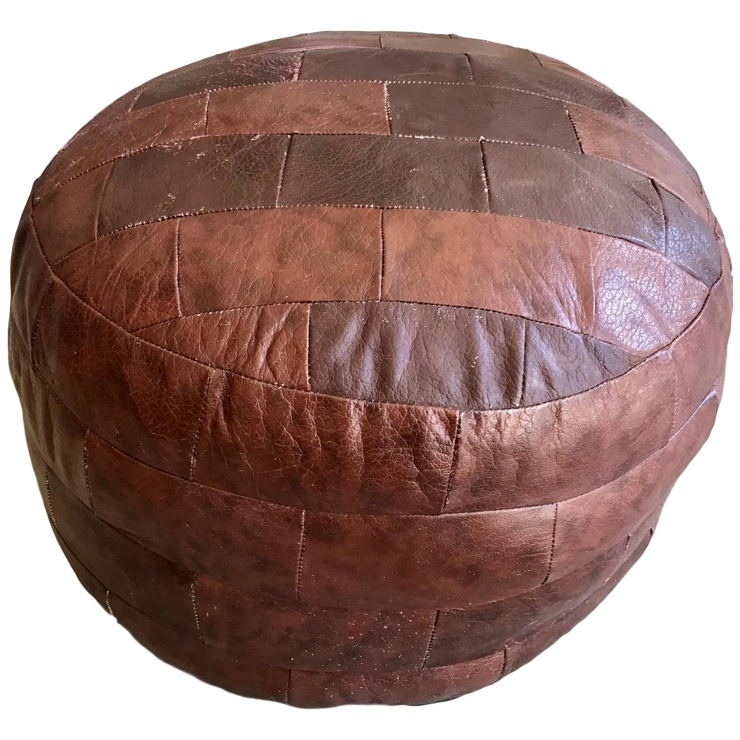 De Sede Patchwork Red Brown Leather Pouf