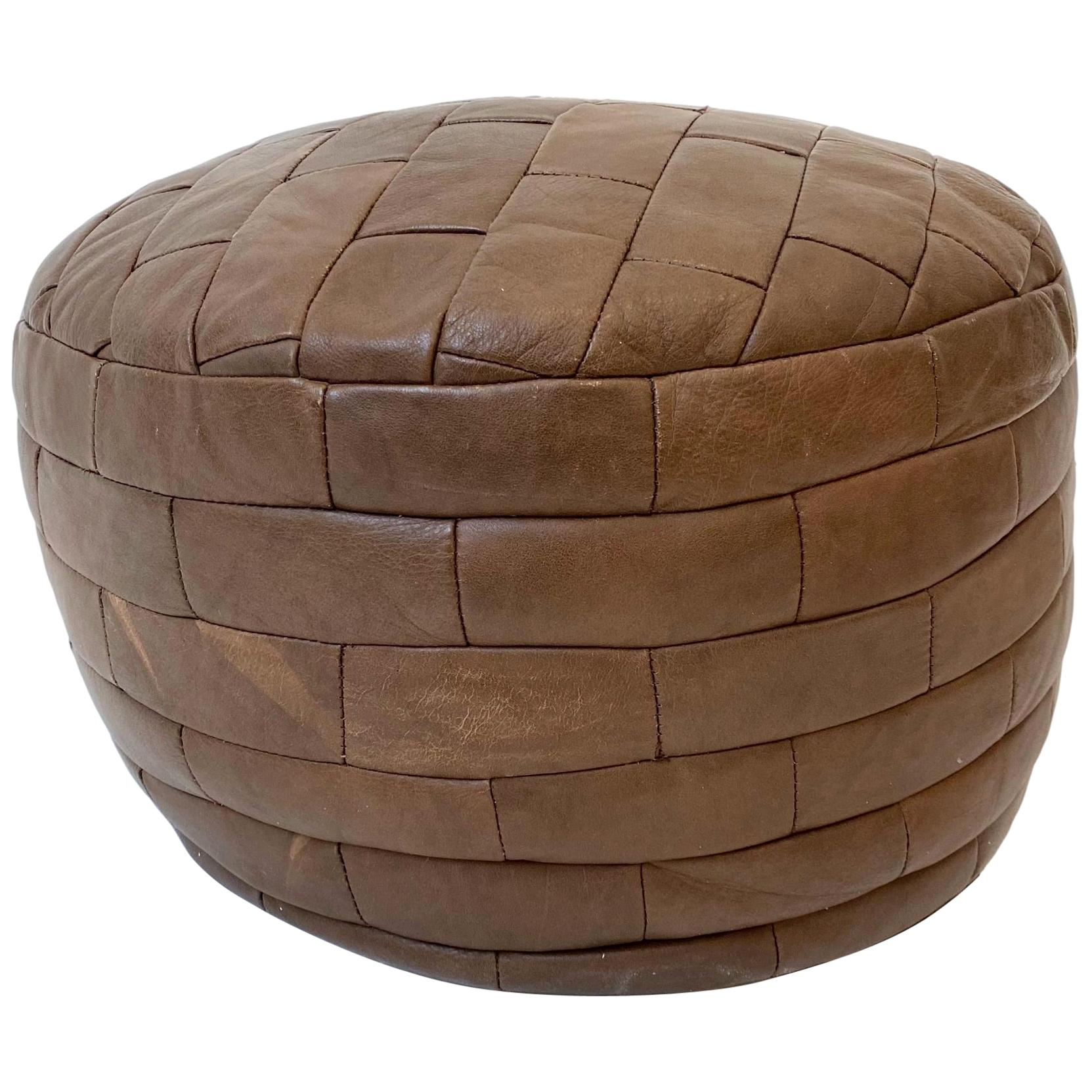 De Sede Patchwork Chocolate Brown Leather Pouf