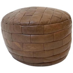 De Sede Patchwork Chocolate Brown Leather Pouf