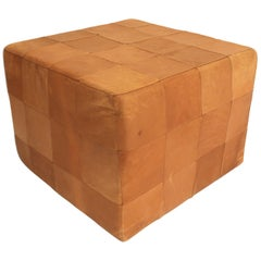 De Sede Patchwork Cube or Ottoman in Beautiful Patinated Cognac Leather