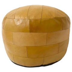 De Sede Patchwork Dark Yellow Leather Pouf
