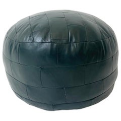 De Sede Patchwork Forest Green Leather Pouf