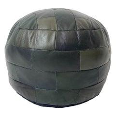 De Sede Patchwork Green Leather Pouf