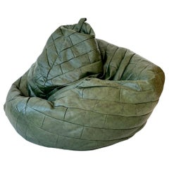 De Sede Patchwork Leather Bean Bag in Army Green
