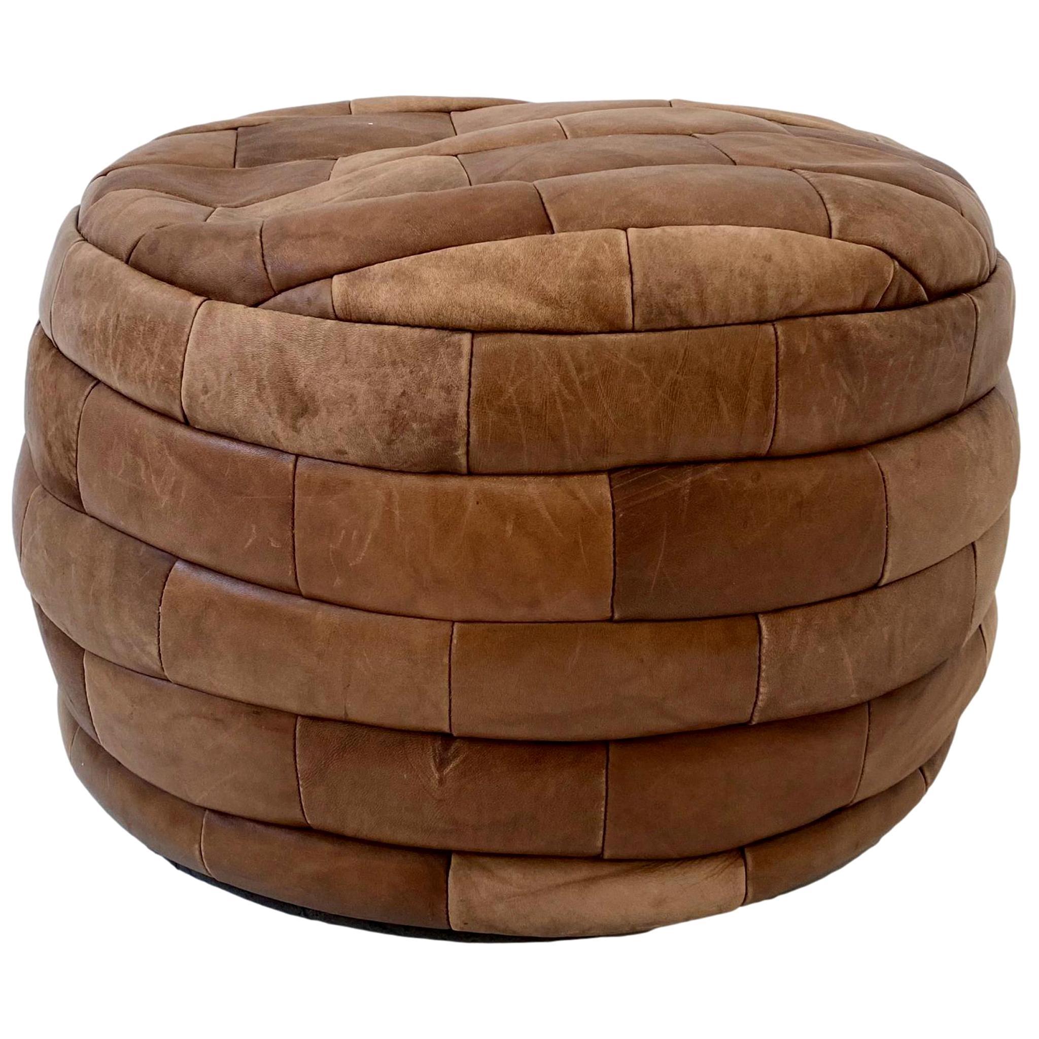 De Sede Patchwork Light Brown Leather Pouf