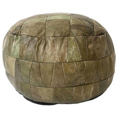 De Sede Patchwork Light Green Leather Pouf