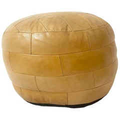De Sede Patchwork Light Yellow Leather Pouf