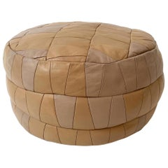 De Sede Patchwork Peach Leather Pouf