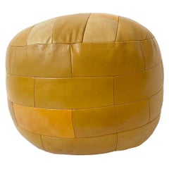 De Sede Patchwork Yellow Leather Pouf
