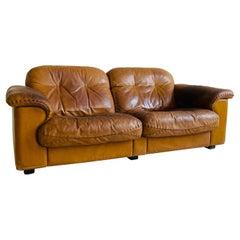 De Sede Patinated Cognac Leather Love Seat Model DS 101, Swiss 1960s