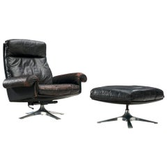 De Sede Patinated DS31 High Back Chair and Ottoman