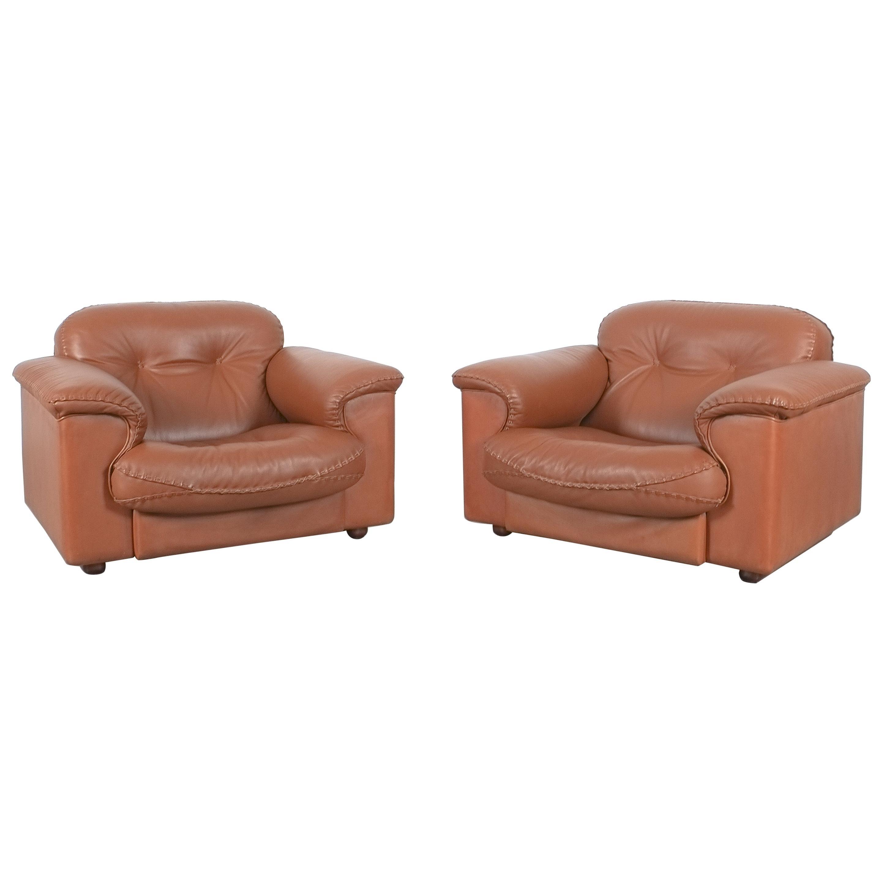 De Sede Reclining Leather Lounge Armchair Pair DS 101, 1969