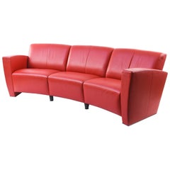 De Sede Red Leather Crescent Sofa