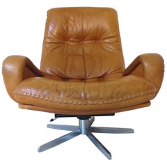 De Sede S-231 James Bond Cognac Brown Leather Lounge Swivel Armchair 1960s