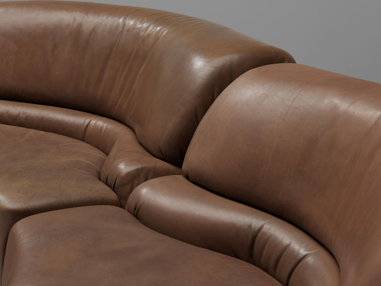 Mid-Century Modern De Sede Sectional Sofa 'Cosmos' in Brown Leather For Sale