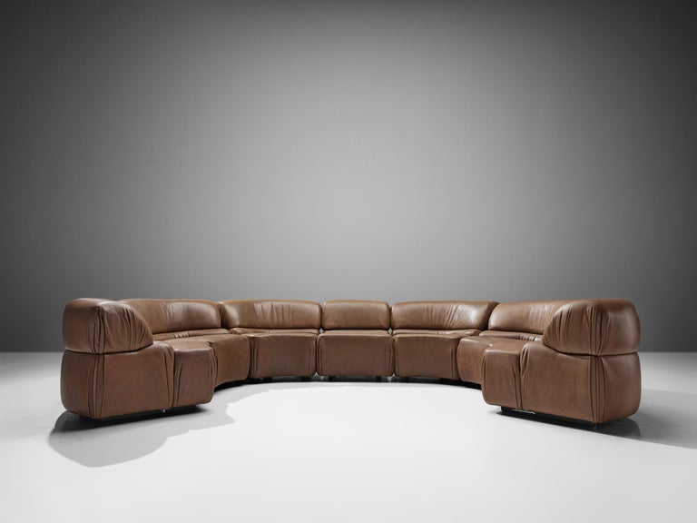 Swiss De Sede Sectional Sofa 'Cosmos' in Brown Leather For Sale