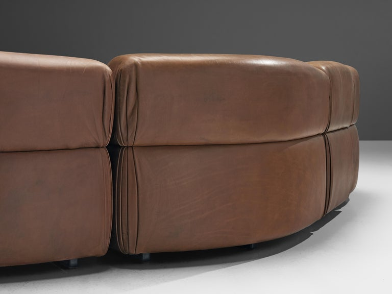 De Sede Sectional Sofa 'Cosmos' in Brown Leather In Good Condition For Sale In Waalwijk, NL