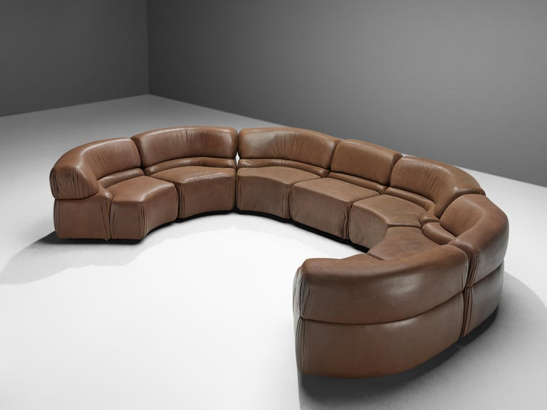 Late 20th Century De Sede Sectional Sofa 'Cosmos' in Brown Leather For Sale