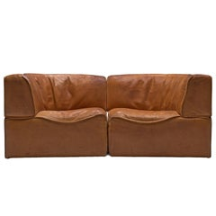 De Sede Sectional Sofa Elements Model DS-15 in Cognac Leather
