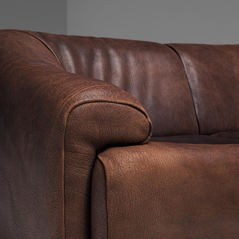 De Sede Sectional Sofa in Dark Brown Buffalo Leather For Sale 4