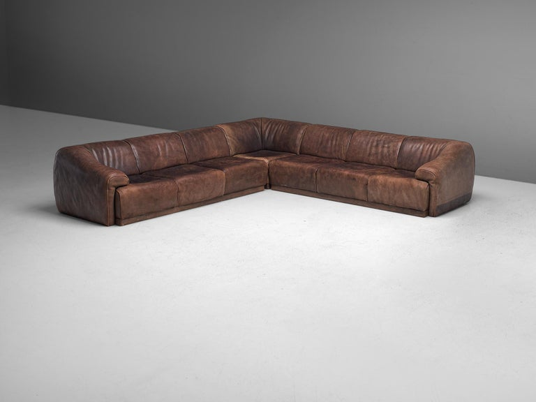 Mid-Century Modern De Sede Sectional Sofa in Dark Brown Buffalo Leather For Sale