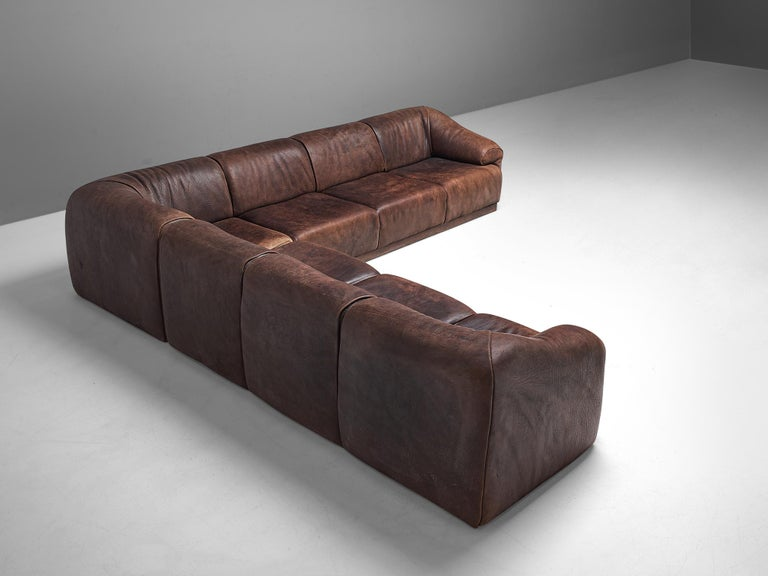 Swiss De Sede Sectional Sofa in Dark Brown Buffalo Leather For Sale