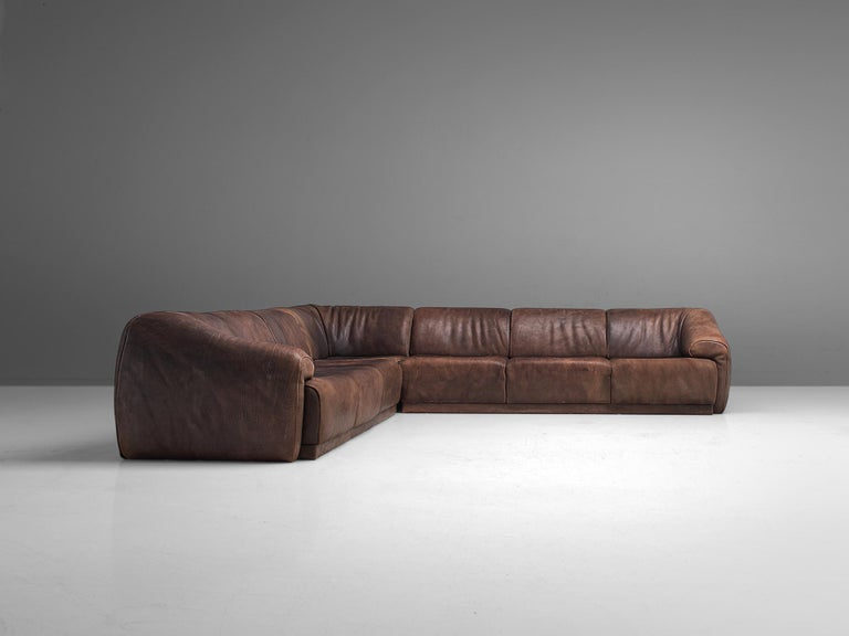 De Sede Sectional Sofa in Dark Brown Buffalo Leather In Good Condition For Sale In Waalwijk, NL