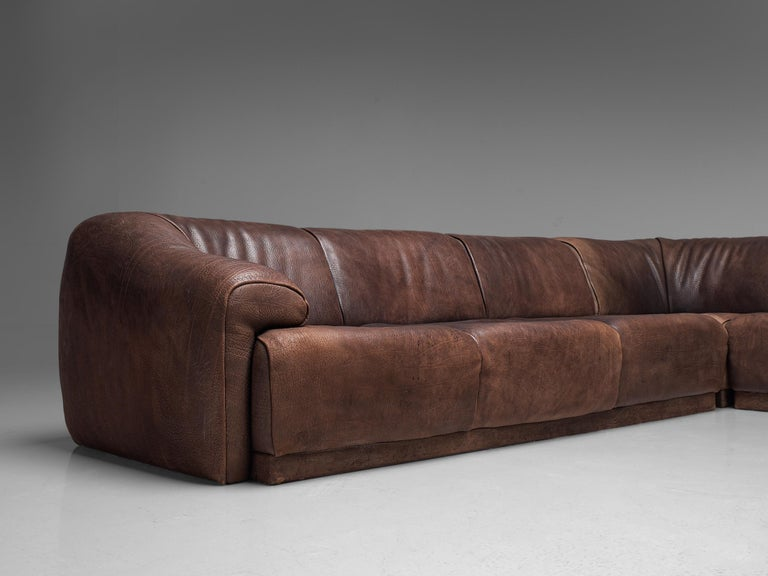 De Sede Sectional Sofa in Dark Brown Buffalo Leather For Sale 2