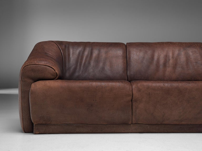 De Sede Sectional Sofa in Dark Brown Buffalo Leather For Sale 3