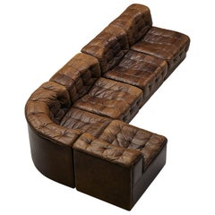 De Sede Sectional Sofa in Tufted Brown Leather