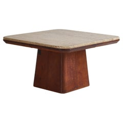 De Sede Side Table in Travertine and Natural Leather, Switzerland, 1970s