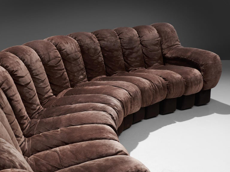 Suede De Sede 'Snake' DS 600 Non Stop 20 Section Sofa For Sale