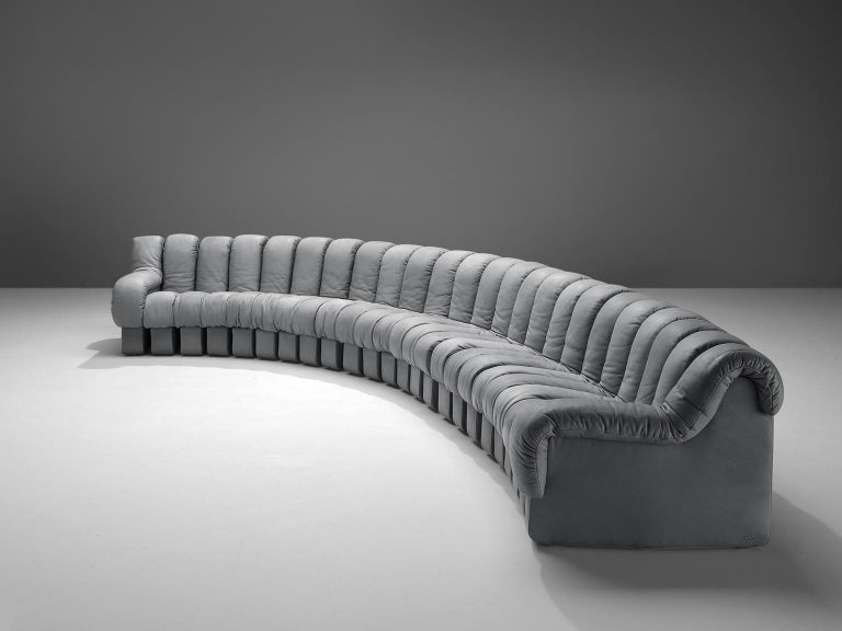 Mid-Century Modern De Sede 'Snake' DS 600 Non Stop 24 Section Grey Sofa For Sale