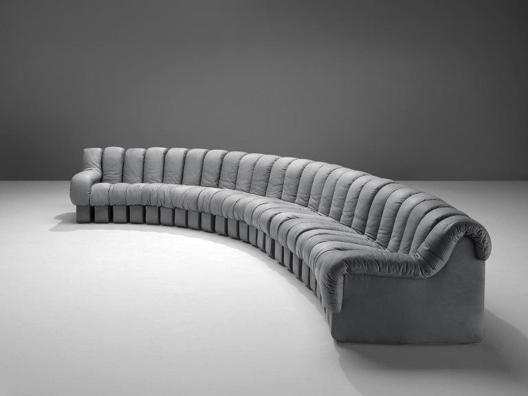 Mid-Century Modern De Sede 'Snake' DS 600 Non Stop 24 Section Grey Sofa