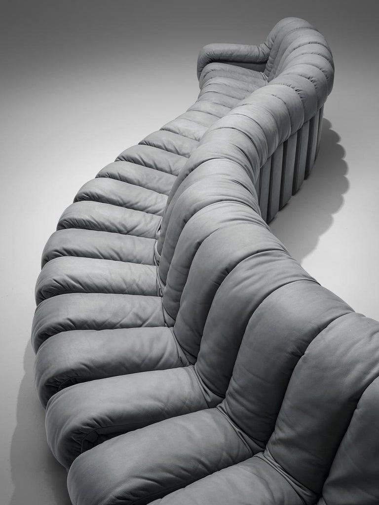 Swiss De Sede 'Snake' DS 600 Non Stop 24 Section Grey Sofa