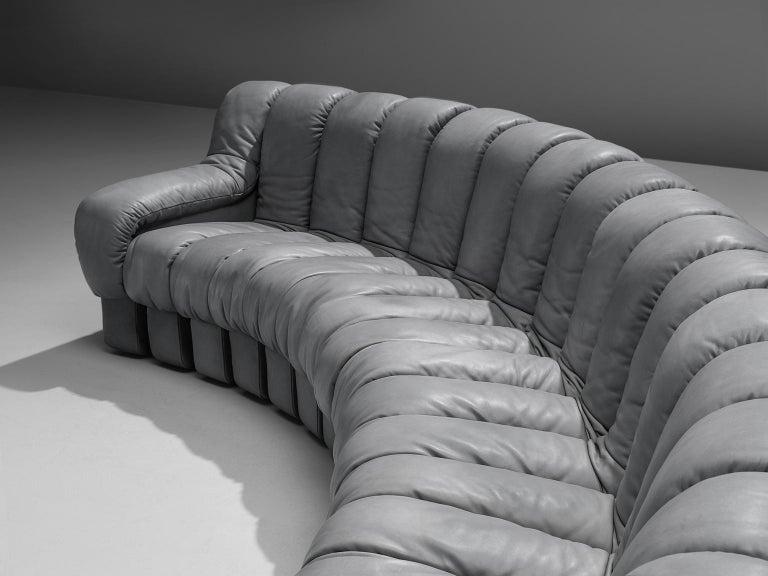 Late 20th Century De Sede 'Snake' DS 600 Non Stop 24 Section Grey Sofa