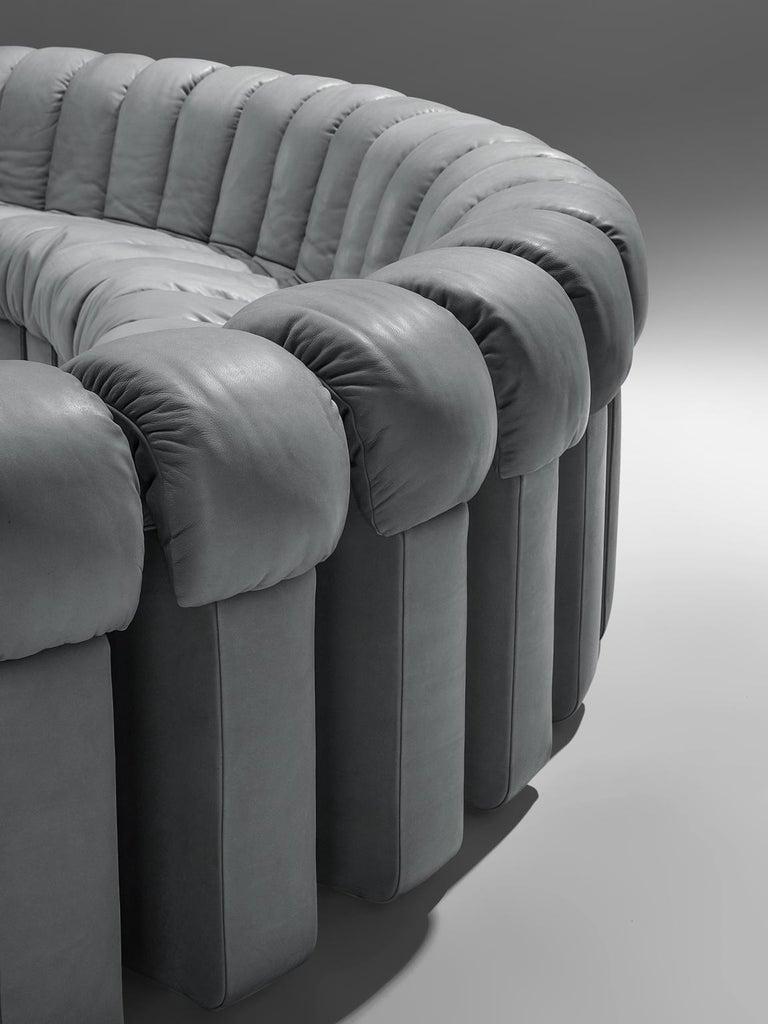Leather De Sede 'Snake' DS 600 Non Stop 24 Section Grey Sofa