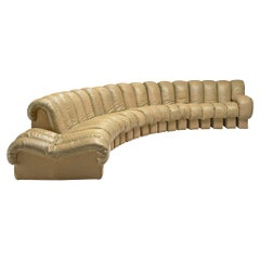 De Sede 'Snake' DS-600 Sofa in Beige Leather and Suede