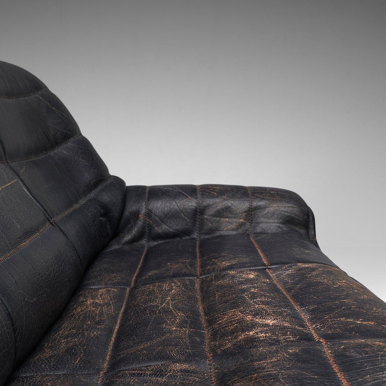De Sede Sofa DS84 in Patinated Black Leather For Sale 4