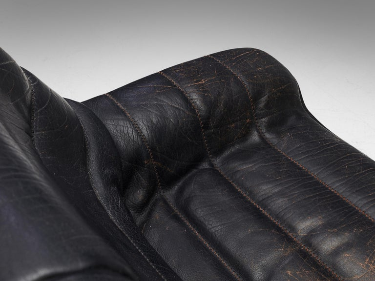 Mid-Century Modern De Sede Sofa DS84 in Patinated Black Leather For Sale